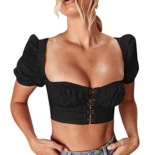 (Maxrise Women's Elegant Short Puff Sleeve Square Neck Blouse Shirts Tops Black)