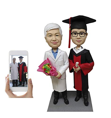 Custom Bobblehead Graduation Figurine Personalized Gifts Based on Your Photos, Two people,DHL Expedited Shipping Service (Custom 2 Bobble Head)