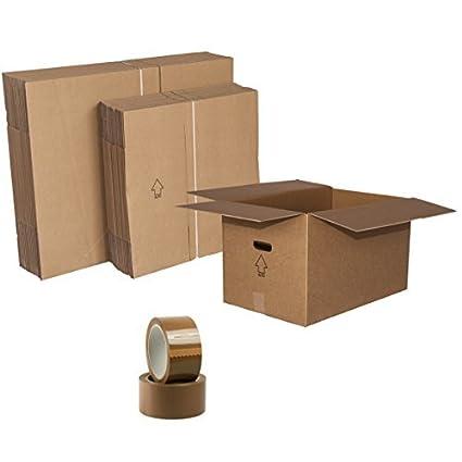 SIMBA Kit Cajas Mudanza 70 Unidades cartón Doble Onda Grande + Media + pequeña. 15