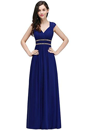 Kleid MisShow Königsblau Einfarbig Kleid Damen EUUqP6