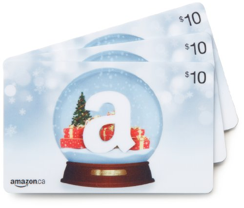 Amazon.ca $10 Gift Cards, Pack of 3 (Holiday Globe/Globe de neige Card Design)
