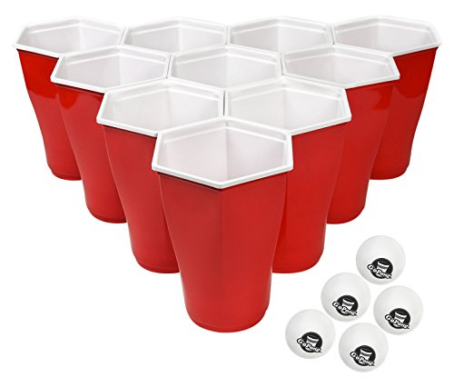 GoPong 6-Sided Party Cups with 5 Pong Balls (50 Pack), Perfect for Beer Pong