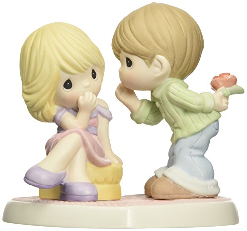 Precious Moments, Boy Whispering to Girl Figurine, Porcelain Bisque Figurine, 153004