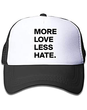 More Love Less Hate-1 On Kids Trucker Hat, Youth Toddler Mesh Hats Baseball Cap