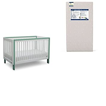 Serta Fremont 3-in-1 Convertible Crib, Bianca White with Aqua and Perfect Evening Air Crib and Toddler Mattress