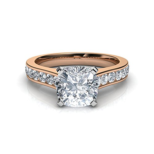 (luxrygold 14K Rose Gold Pl 2.85Ctw Cushion Cut White Simulated Diamonds Cathedral Engagement Ring)