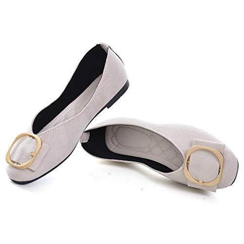 SAILING LU Classic Square Toe Shoes Womens Solid Ballet Flats Comfort Buckle Flat Shoes for Work Slip On Sandals Beige 39