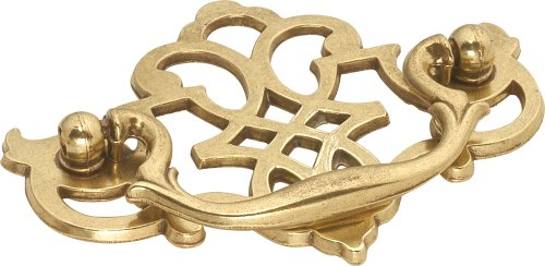 Center Polished Brass Bail Pull - Hickory Hardware P329-LP 3-Inch Queen Anne Cabinet Bail Pull, Lancaster Hand Polished