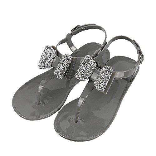 iFANS Women Shiny Rhinestone Bow Dress Flat Gladiator Sandals Thongs Sandals Grey