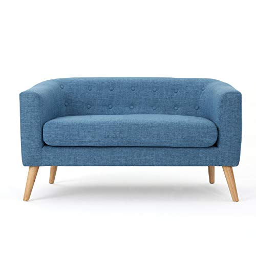 Christopher Knight Home Althea Button Back Mid Century Fabric Modern Loveseat (Muted Blue)