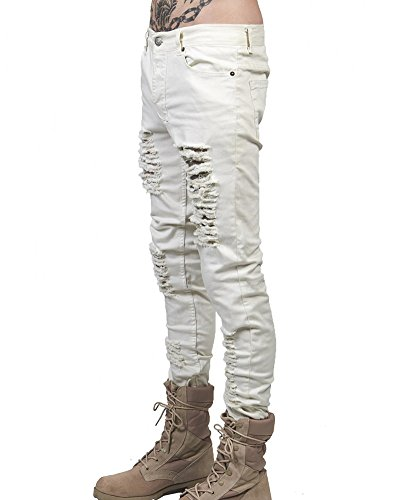 Pantaloni Distrutto Slim Uomo Fit Elasticizzati Denim Strappati Grigio Skinny Jeans wqtZx0UX