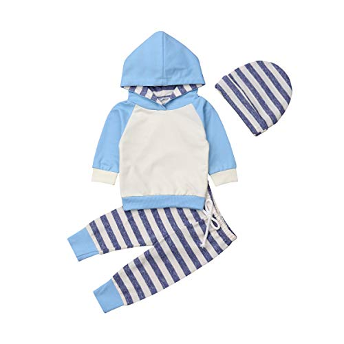 Baby Boys Girls Clothes Long Sleeve Hoodie Tops Sweatsuit Pants Headband Outfits Set 0-24 Months (6-12 Months, Blue)