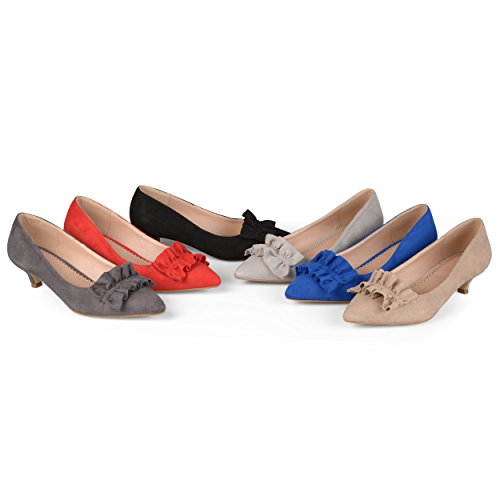 Brinley Co Womens Faux Suede Ruffle Kitten Heels