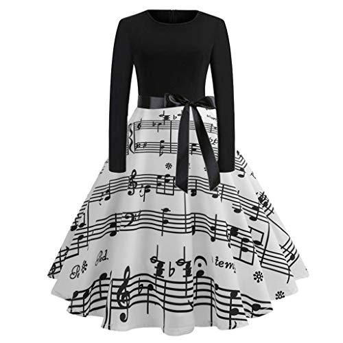 Women Vintage 1950s Hepburn Dress Long Sleeve Midi Dress High Waist Evening Party Prom Swing Dress by Lowprofile for $<!--$10.99-->
