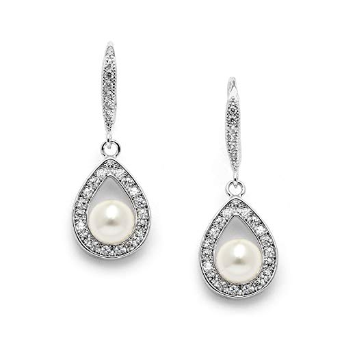 Mariell Cubic Zirconia Crystal Pearl Dangle Wedding Earrings for Women, Jewelry for Brides, Bridesmaids