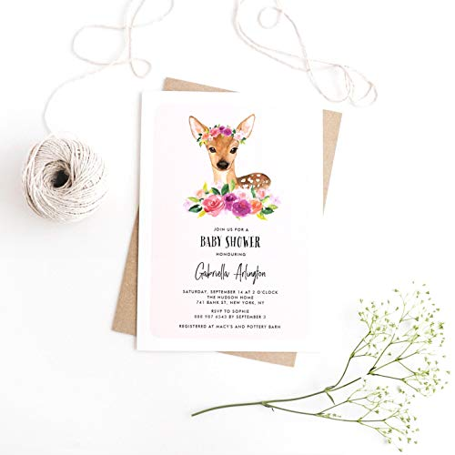 Dozili Baby Shower Invitation Watercolor Fawn with Floral Crown Baby Shower Invitation Invitation]()