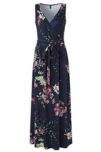 Zattcas Womens V Neck Sleeveless Empire Waist Floral Maxi Dress … (Medium, Navy Multi)