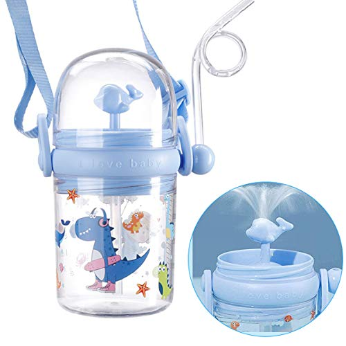 FRUSDE Kids Water Bottle With Straw - BPA Free, 250ml Whale Drop-Proof Drinking Cup With Scale Label Water Bottle Reusable Sports Drinking Bottle Water Spray Bottle for School Travel