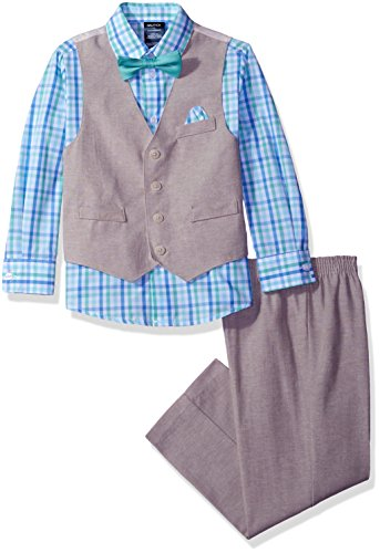 Nautica Big Boys' Linen Look Vest Set with Bow Tie and Hanky, Light Tan, (Boys Tan Suits)