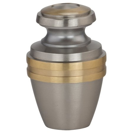 Silverlight Urns Avalon Brass Keepsake Urn, Pewter, Silver and Gold Mini Urn for Sharing Ashes, 2.75 Inches Tall