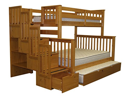 Bedz King Stairway Bunk Bed Twin over Full with 4 Drawers in the Steps and a Twin Trundle, Honey