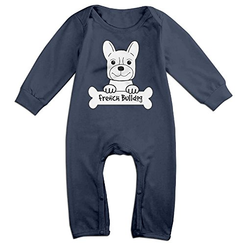 NOXIDN SMWI Baby Infant Romper French Bulldog Long Sleeve Jumpsuit Costume,Navy 6 M for $<!--$12.21-->