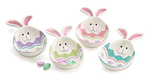 (Easter Bunny Face Egg Shaped Ceramic Candy Dishes with Rabbit Ears (Set of)