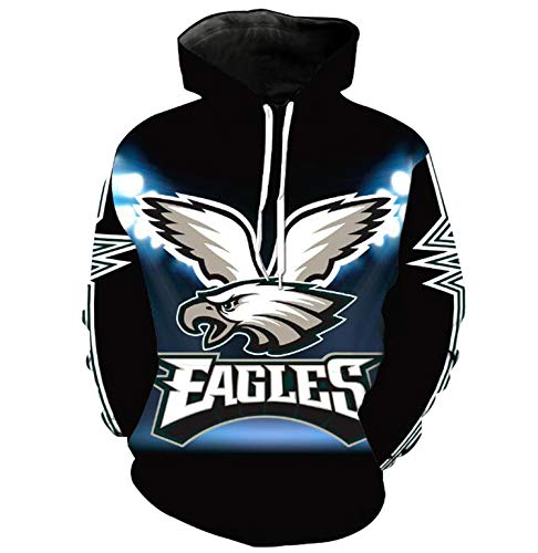 Philadelphia Eagle 3D Printing Hoodies Pullover Men's Long Sleeve Tracksuit Plus Size,Multi,XL