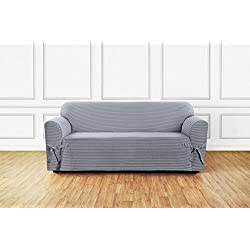 Sure Fit SF46205 Horizontal Club Stripe 100% Cotton 1 Piece Sofa Slipcover, Limestone Gray