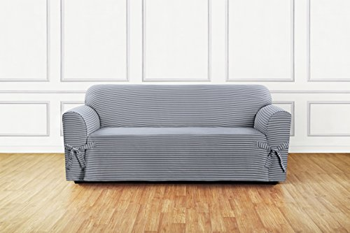 Sure Fit Horizontal Club Stripe 1-Piece - Sofa Slipcover - Limestone Gray (SF46205)
