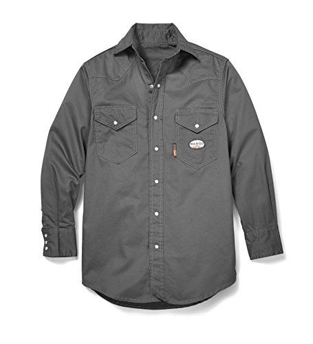 Rasco FR Gray Western Shirt with Snaps 7.5 oz - GR754 4XL-Long (Gray)