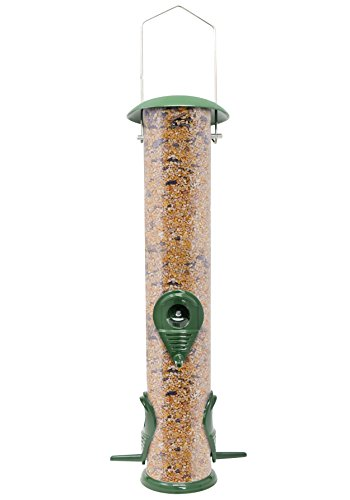 GrayBunny GB-6847D Classic Metal Tube Feeder, Weather Proof Premium Metal Bird Feeder With Steel Perches and Steel Hanger, Solid Hard Tube, Chew-Proof and Lasts A Lifetime (Bird Circular Feeder)