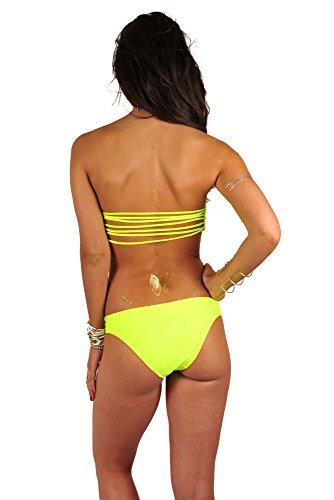 Mon Itsy Bikini - Traje de baño braga Amarillo fluo con ligas Amarillo