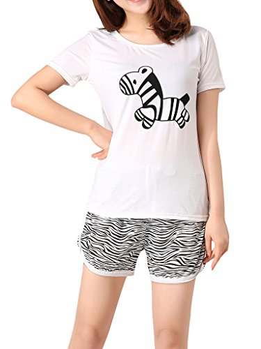 VENTELAN Women's Cute Zebra Sleepwear Short Sleeve Pajamas Casual Summer Nighty, White, Large(USA - 14 Usa Size
