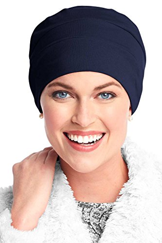 Headcovers Unlimited Three Seam Cotton Sleep Cap-Caps for Women with Chemo Cancer Hair Loss Navy