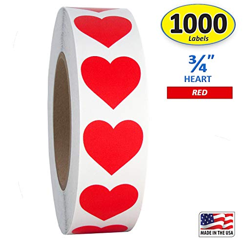 "Red Heart Shaped Sticker Labels, 3/4"" Diameter, 1000 per Roll.75 inch"