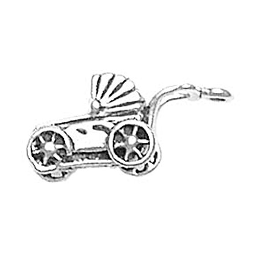 925 Sterling Silver Classic Adorable Baby Buggy Carriage Stroller Charm For Bracelet/Necklace