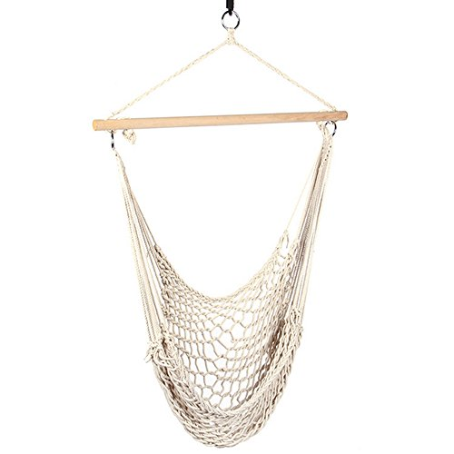 Zokop cotton rope swing hammock cradle chair seating with for Indoor hanging rope chair