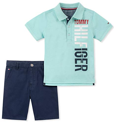 Tommy Hilfiger Baby Boys 2 Pieces Polo Shorts Set, Green, 24M