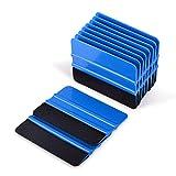 Ehdis® [10PCS] High Quality Felt Edge Squeegee 4 Inch for Car Vinyl Scraper Decal Applicator Tool with Black Fabric Felt Edge - Blue PP Scraper