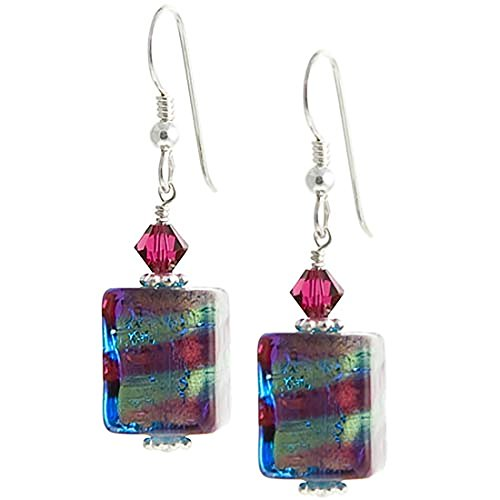 (Gold Foil Murano Glass Striped Blue and Pink Cube Earrings)