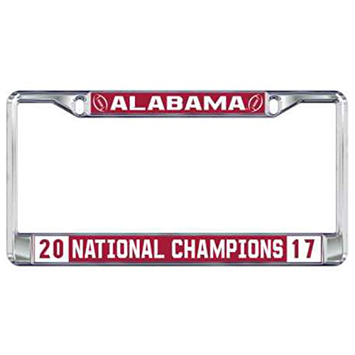 - 2017 National Champion Domed Mirrored License Plate Frame University of Alabama Crimson Tide