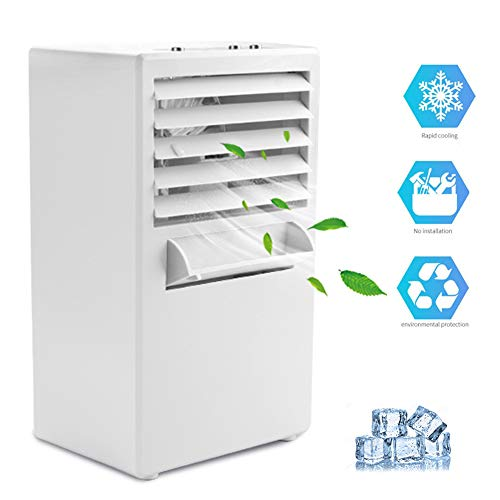 System Cooling Evaporative (Vshow Portable Air Conditioner Fan Mini Evaporative Air Cooler Misting Swamp Cooler Small Desk Humidifier Fan for Office Dorm Nightstand)