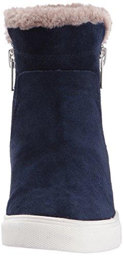 Steven Av Steve Madden Womens Cacia Sneaker Navy Semsket Skinn