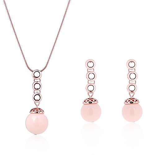 JUST N1 Pink Glass Stone Earring and Necklace Sets Rose Gold Plated (Pink Stone Set)