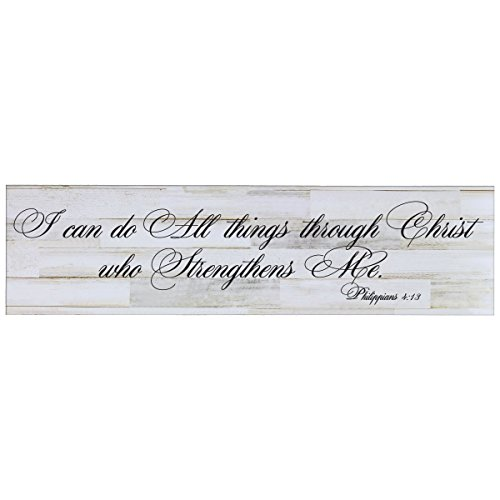 LifeSong Milestones I Can Do All Things Through Christ Me Decorative Wall Art Sign for Living Room, Entryway, Kitchen, Bedroom,Office, Wedding or Ideas (Distressed White Plank)