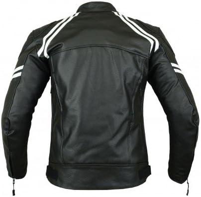 Cuero y protecciones Chaqueta deportiva de motocicleta para hombre Alta protecci/ón Color negro y blanco LJ-3022