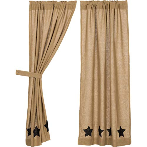 (VHC Brands Classic Country Primitive Window Burlap w/Stars Tan Short Curtain Panel Pair Black)
