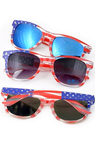 Patriotic USA American Flag Retro Classic Sunglasses USA Glasses (Style 13, - Sunglesses