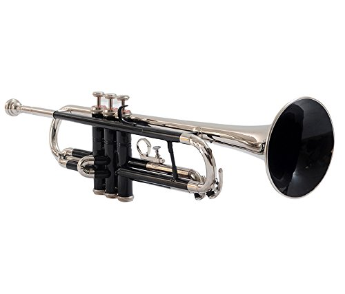 TRUMPET Bb PITCH FOR SALE BLACK + NICKEL SILVER COLOR WITH FREE CASE AND MP by NASIR ALI